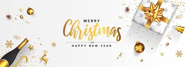 モダンなメリークリスマスと新年あけましておめでとうございますグリーティングカードのデザイン、金色の装飾品と白い背景の上のギフトボックスと冬のデザイン。 Premiumベクター