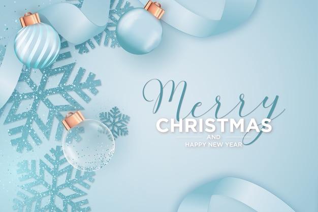 リアルなクリスマスオブジェクトを備えたモダンなメリークリスマスと年賀状 無料ベクター