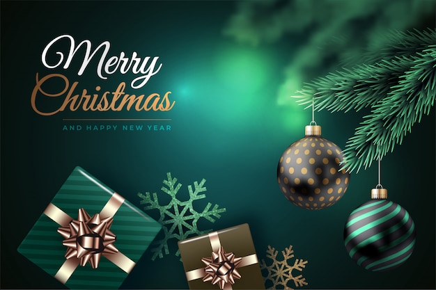 Modern merry christmas background with balls and gifts Premium Vector