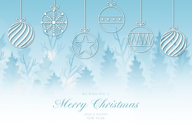 Modern merry christmas background with cute landscape Free Vector