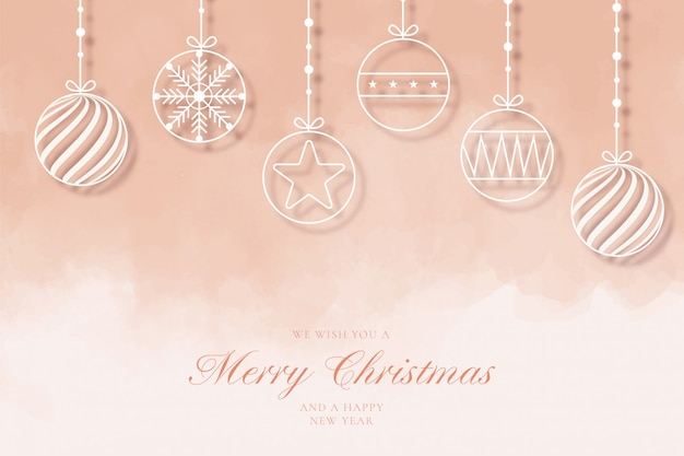 Modern merry christmas background with line balls Free Vector