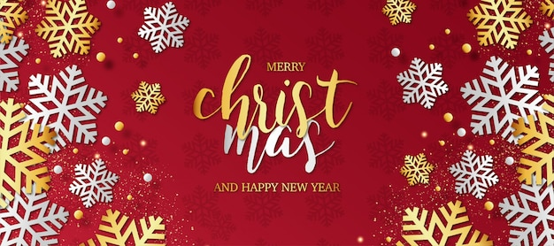 Modern merry christmas background with snowflakes Free Vector