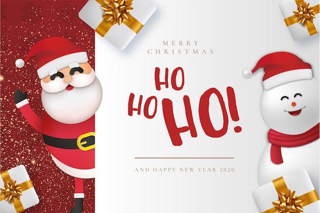 Modern merry christmas card con claus Vettore gratuito