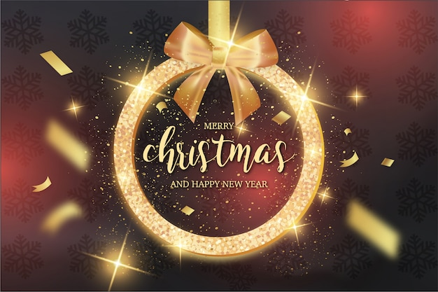 Modern merry christmas card with gold ribbon Free Vector