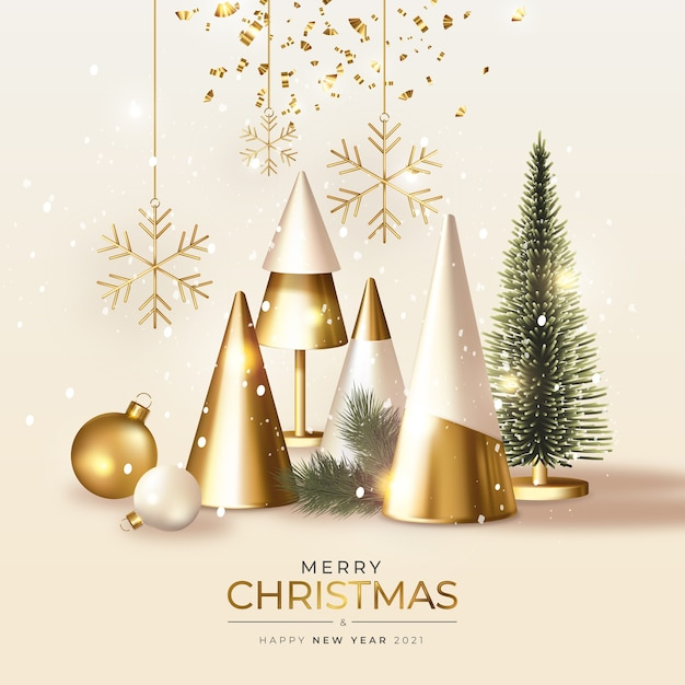 Modern merry christmas greeting card with realistic 3d golden christmas Free Vector