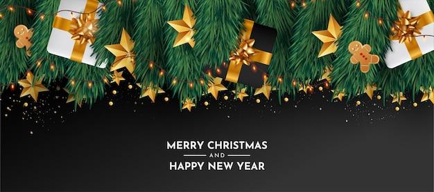 Banner moderno di buon natale e felice anno nuovo con oggetti realistici Vettore gratuito