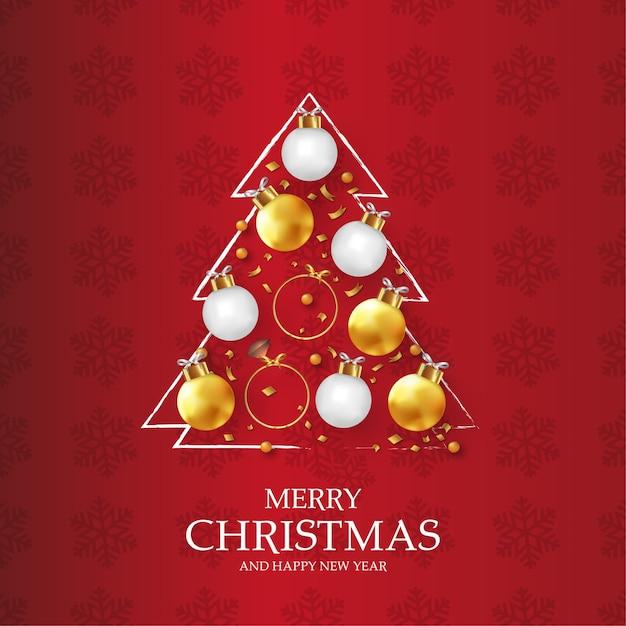 Carta moderna di buon natale e felice anno nuovo con albero di natale originale Vettore gratuito