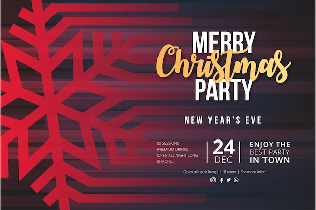 Modern merry christmas party event poster with snowflake Free Vector