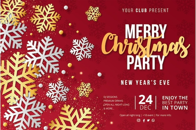 Modern merry christmas party poster template with snowflakes Free Vector