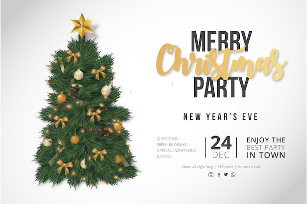 Modern merry christmas party poster template Free Vector