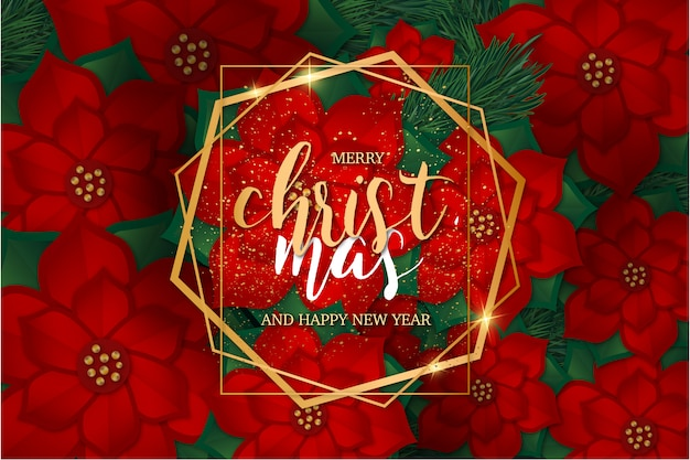 Modern merry christmas  with golden frame template Free Vector