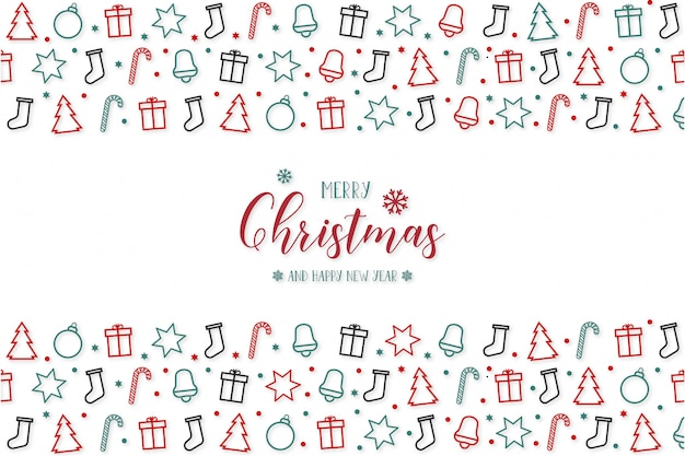 Modern merry christmas  with greeting icons Free Vector