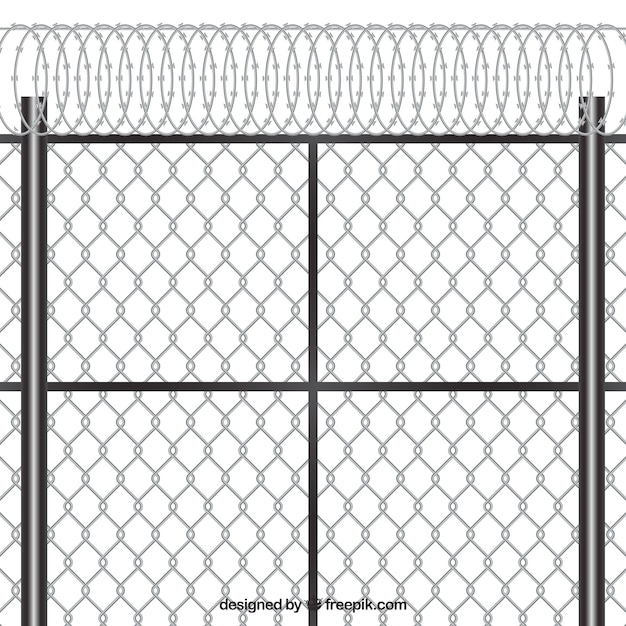 Modern metal fence design with barbed wire Vector | Free Download