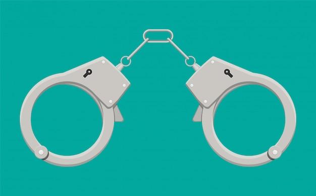 Modern metal handcuffs. Premium Vector