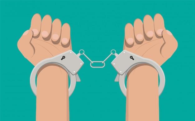 モダンな金属製の手錠。 Premiumベクター