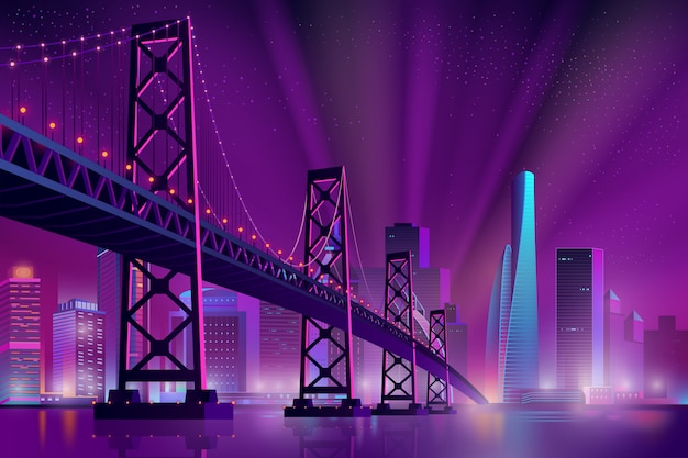 Modern metropolis night landscape cartoon Free Vector