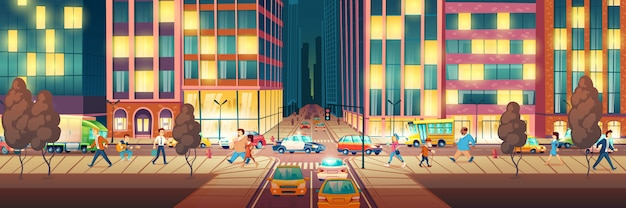 Modern metropolis street at evening time cartoon Free Vector