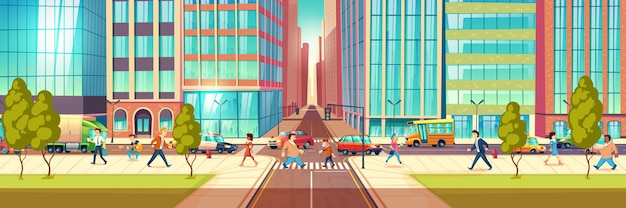Modern metropolis street life cartoon vector concept with people hurrying in business at city street, townsfolk walking sidewalk, pedestrians passing crossroads, transport moving on road illustration Free Vector