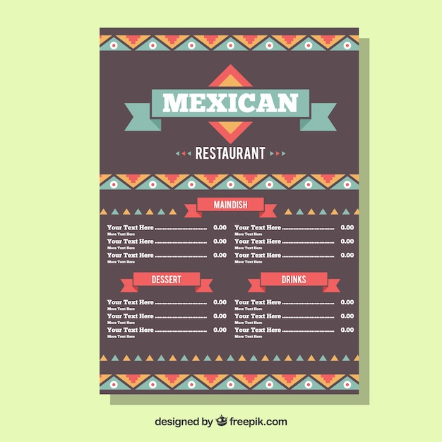 Modern mexican food menu template Free Vector