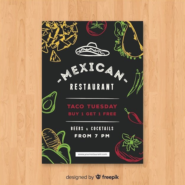 Modern mexican restaurant flyer template Free Vector
