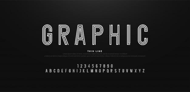 Modern minimal alphabet thin line fonts and numbers Premium Vector