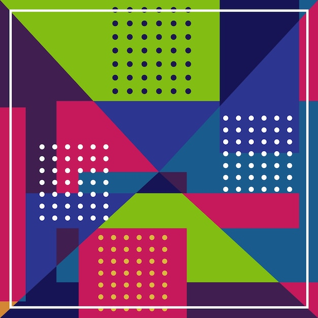 Modern minimal pattern with colorful abstract geometric Premium Vector