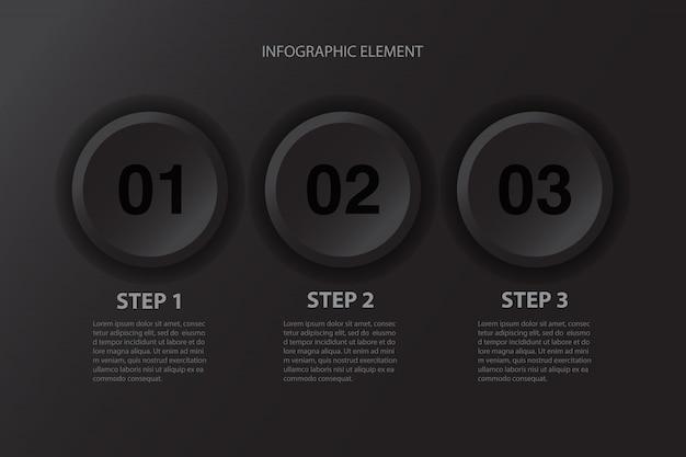 현대 최소한의 3 단계 검은 단추 인포 그래픽 디자인 비즈니스 프레 젠 테이 션에 대 한 요소. 프리미엄 벡터