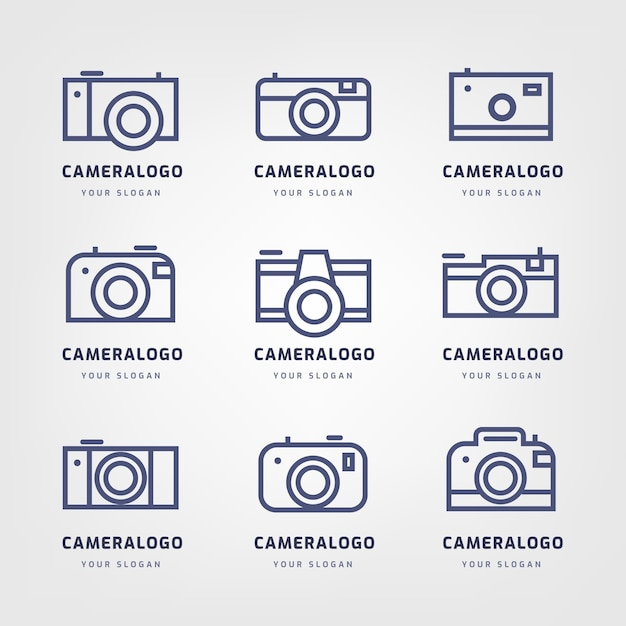 Modern minimalist camera logo collection