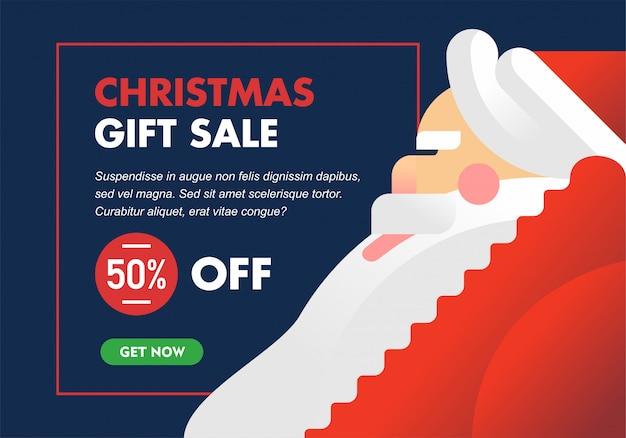 Modern minimalist christmas sale banner or flyer with big santa illustration Premium Vector