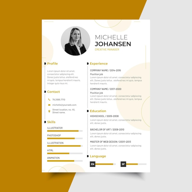 Modern minimalist cv template with photo Free Vector
