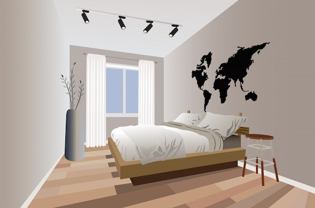 Modern minimalist design bedroom with flowers and lights Free Vector