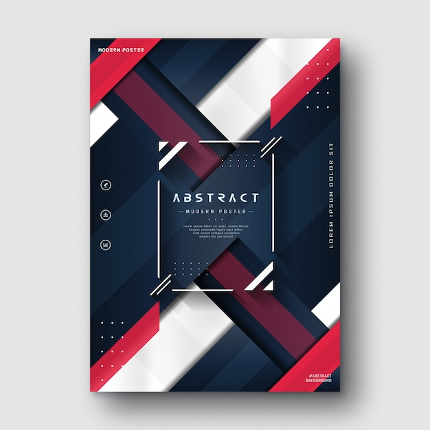 Modern minimalist red blue navy abstract poster Premium Vector