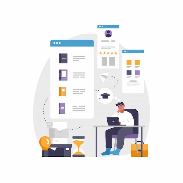 Современное мобильное приложение для образования и электронного обучения. иллюстрация человека, сидящего за столом с ноутбуком Premium векторы