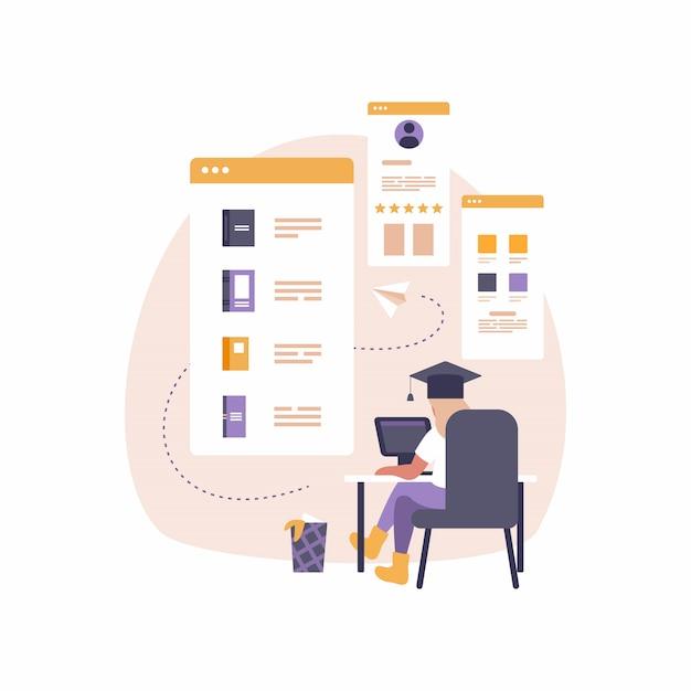 Современное мобильное приложение для образования и электронного обучения. иллюстрация женщина сидит за столом с ноутбуком Premium векторы