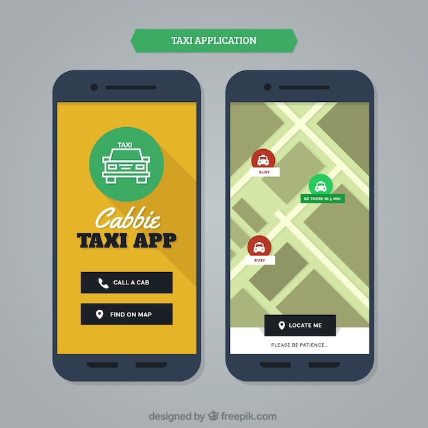Modern mobile application for taxi services Free Vector