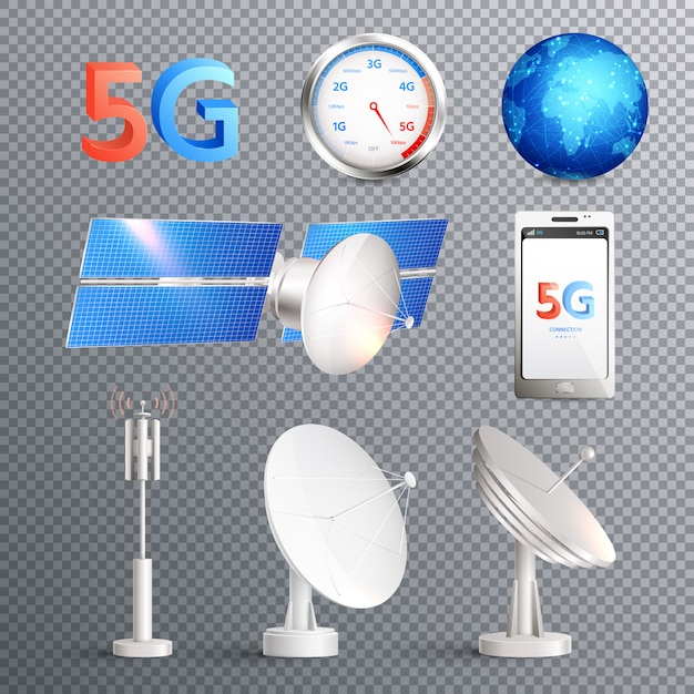 Modern mobile internet technology transparent set of isolated elements promoting signal transmission of 5g standard realistic Free Vector