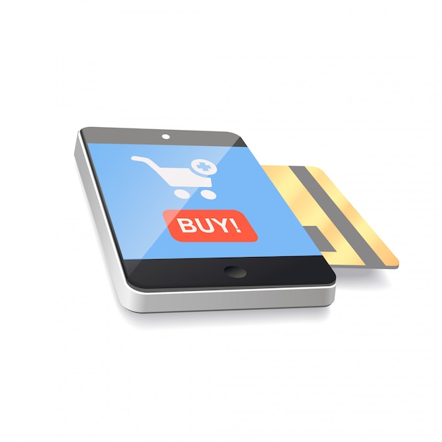 Modern Mobile Smartphone With Credit Card. Vector Vector