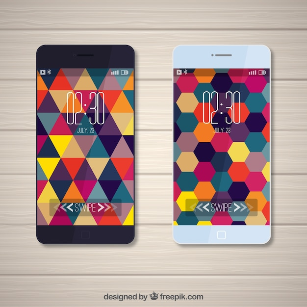 Modern mobile wallpapers of triangles and colorful hexagons