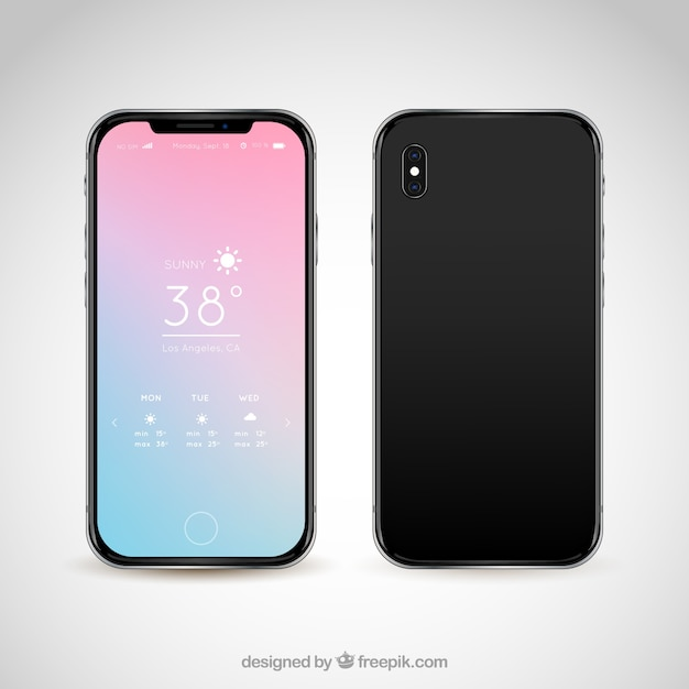 Modern mobile with abstract background Free Vector