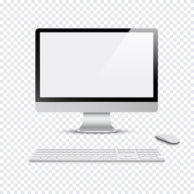 Modern Monitor With Keyboard And Computer Mouse On Transparent Background Premium Vector