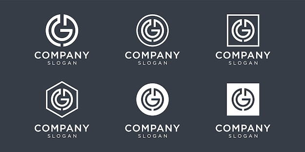 Modern monogram letter gd logo collection for company Premium Vector