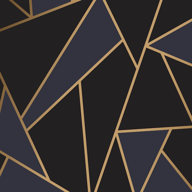 Modern mosaic wallpaper in black and gold Free Vector