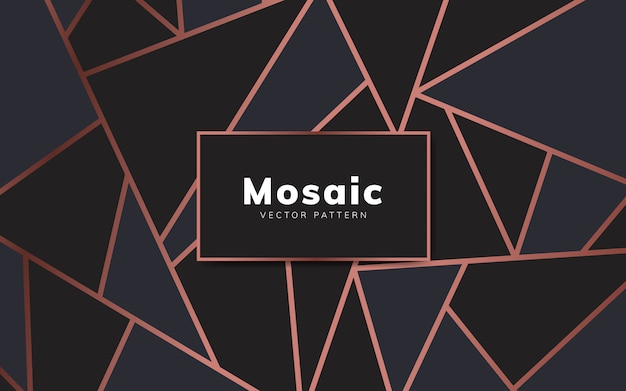 Modern mosaic wallpaper in rose gold and black Free Vector