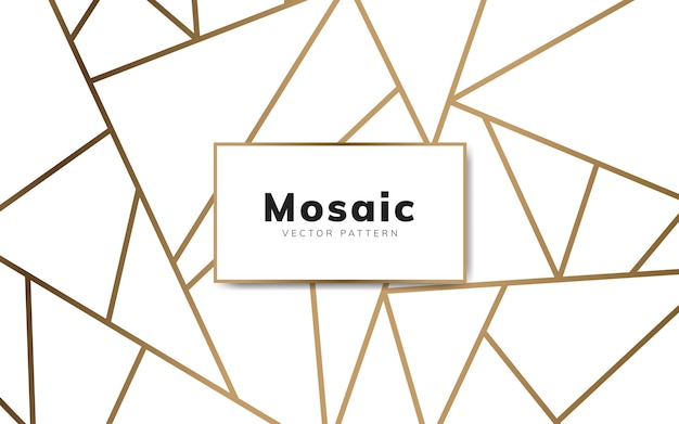 Modern mosaic wallpaper in white and gold Free Vector