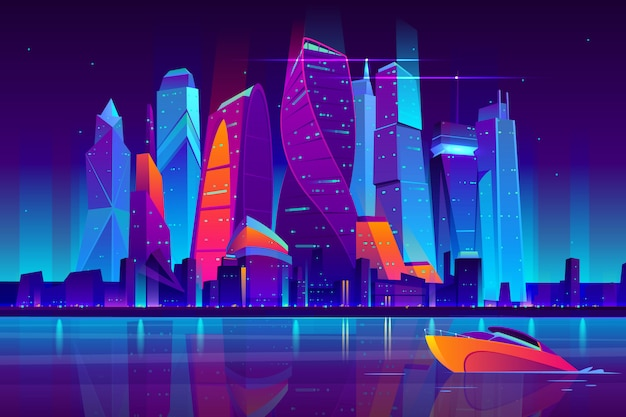 Modern moscow city cartoon vector night landscape. Free Vector