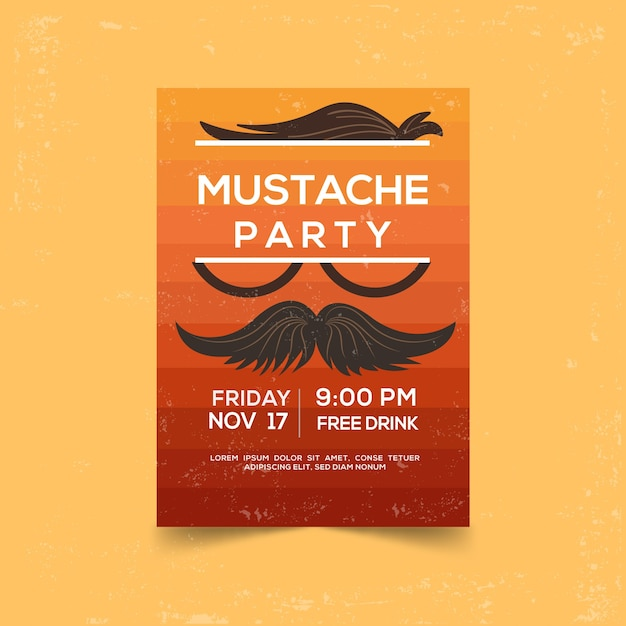 Modern movember party poster with flat design Free Vector