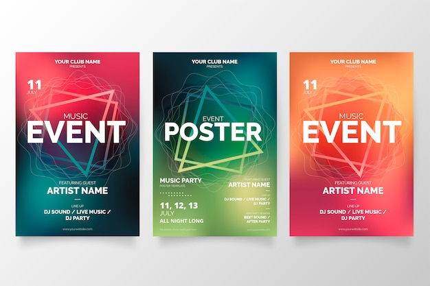 Modern music event poster collection Free Vector