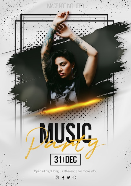 Modern music event poster with abstract brush stroke Free Vector