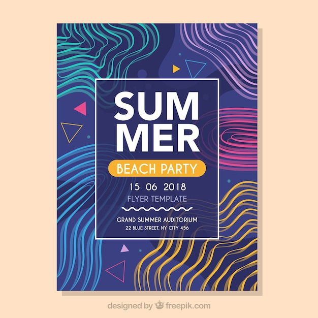 Modern music fest flyer template with abstract shapes Free Vector