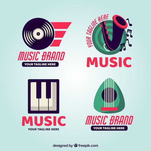 Логотип современной музыки Premium векторы